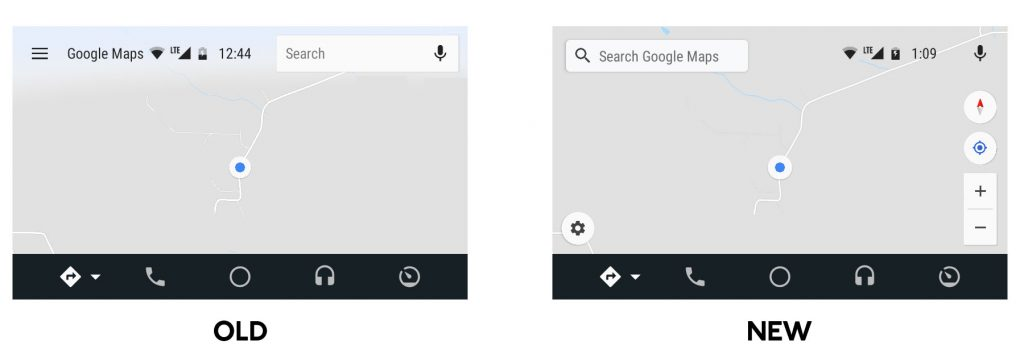 Old vs New Google Maps on Android Auto