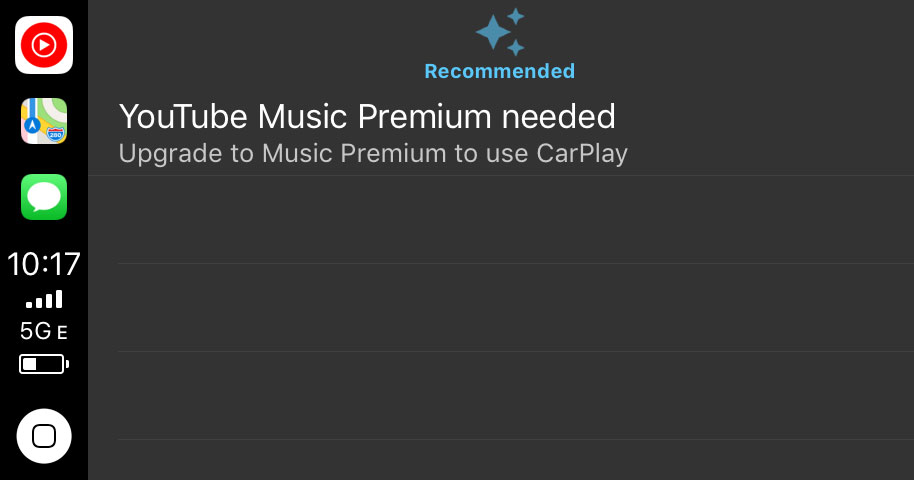 YouTube Music and Apple CarPlay