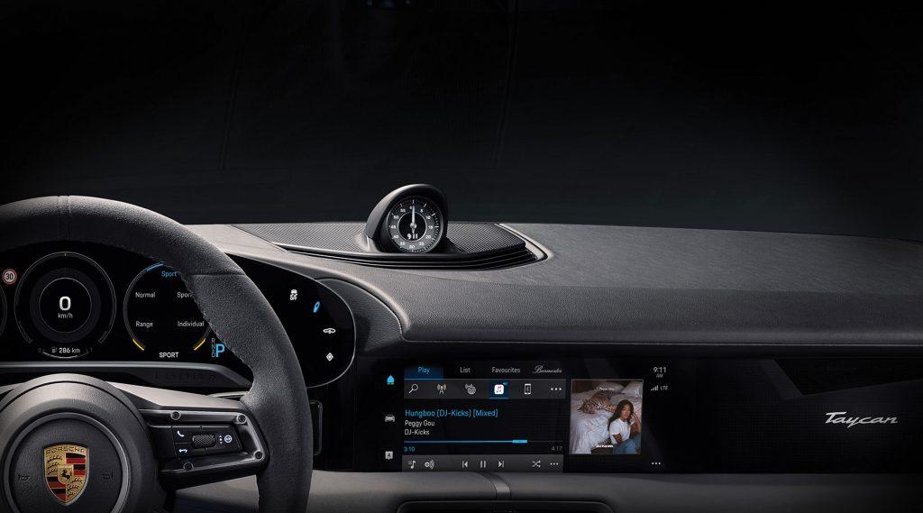 Porsche Taycan dash with Apple Music app.