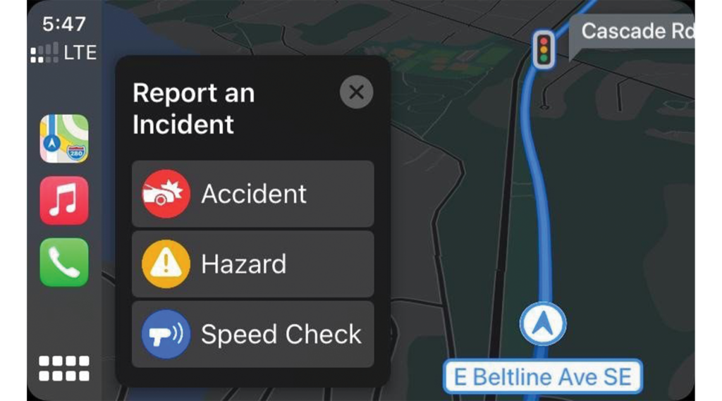 Report an accident or speed trap with Apple Maps