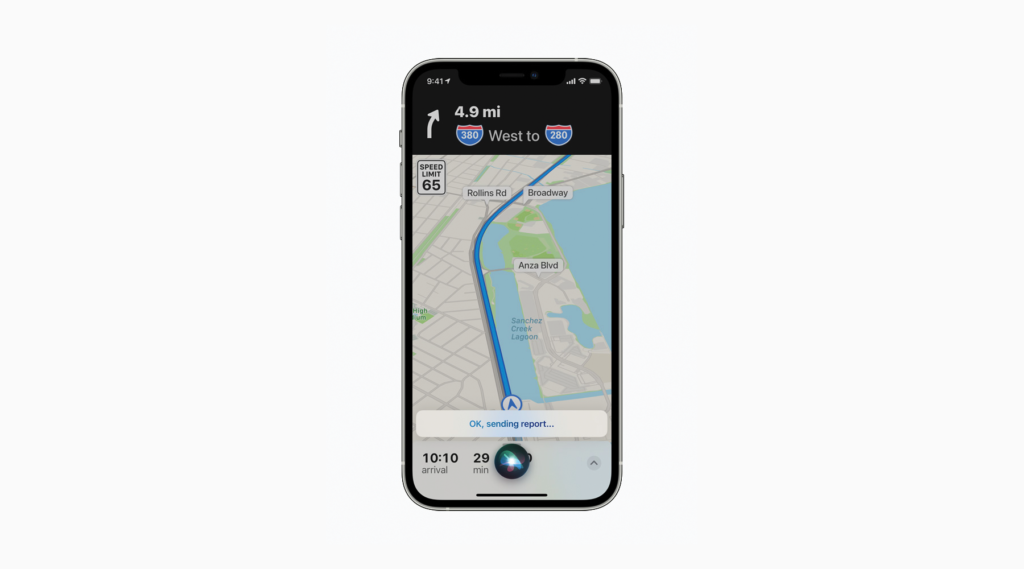 Apple Maps Incident Reporting with Siri Voice Commands